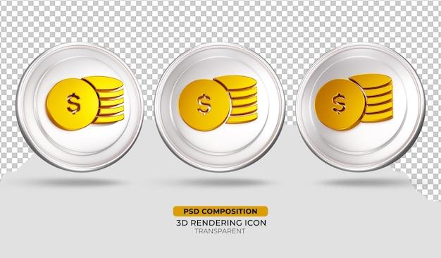 3d render design de ícone de moeda de ouro