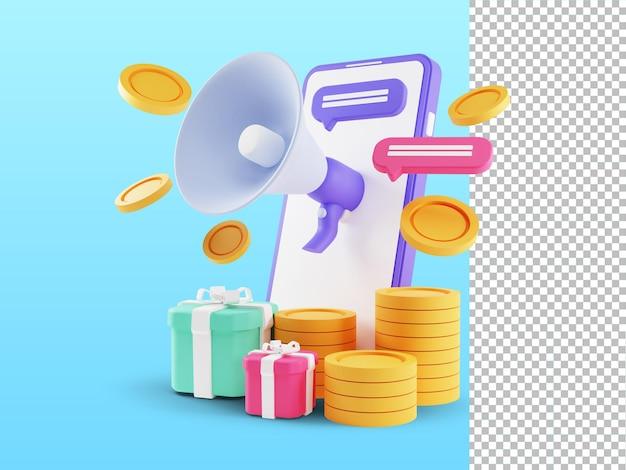 3d render do conceito de indicação de um amigo. pessoas compartilham informações sobre indicações e ganham dinheiro
