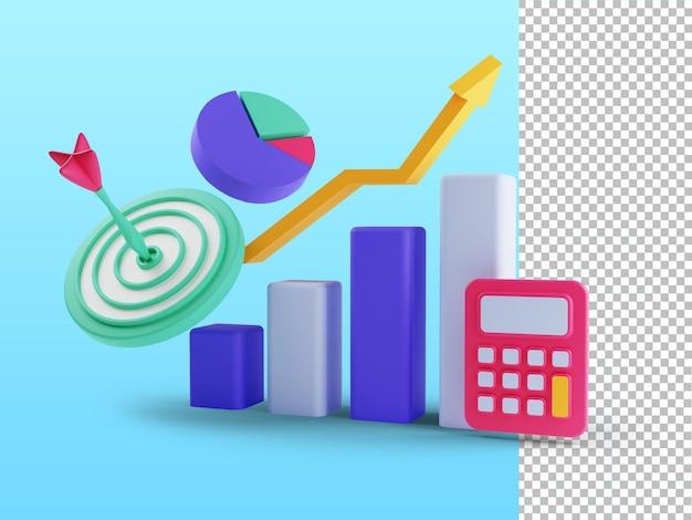 3d render do conceito de roi retorno sobre o investimento, pessoas que gerenciam a receita do lucro do gráfico financeiro