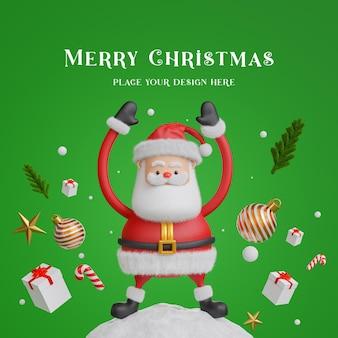 3d render do papai noel com decoração com conceito de feliz natal para a exposição do seu produto