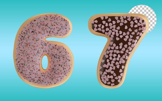 3d render donuts vitrificados número seis e sete forma alfabeto 6 e 7