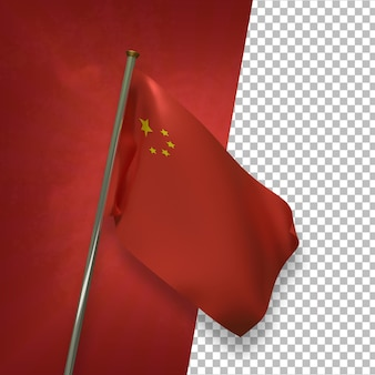 3d render elegante bandeira chinesa
