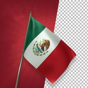 3d render elegante bandeira do méxico