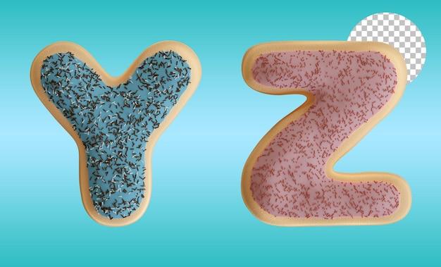 3d render em formato de alfabeto com letras y e z de rosca envidraçada com granulado de chocolate