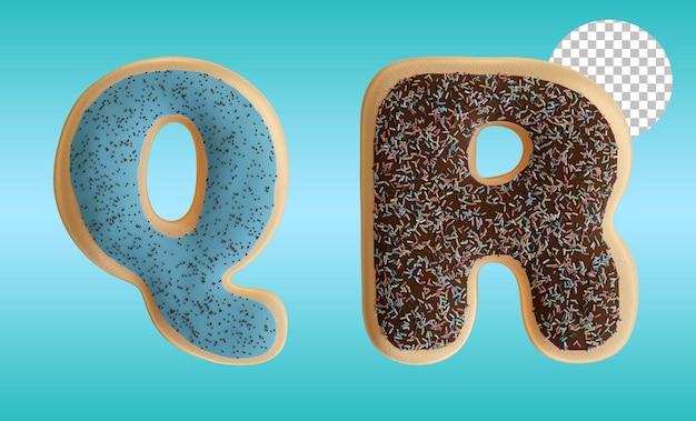 3d render em formato de alfabeto das letras q e r de rosquinhas envidraçadas com granulado de chocolate