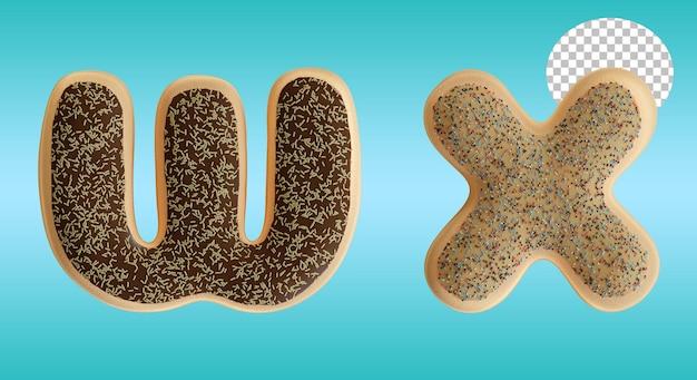 3d render em formato de letra w e x com letras de rosca envidraçada