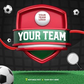 3d render esportes frontais de escudo verde e vermelho e torneio