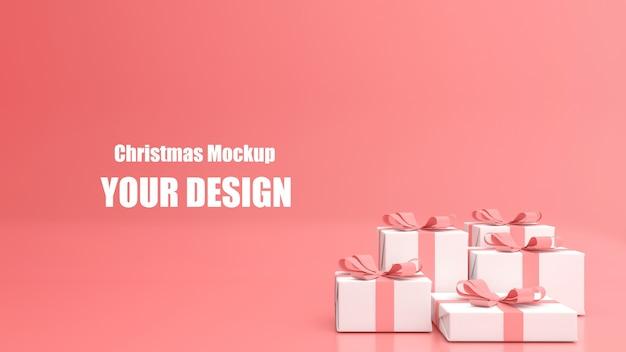 3d render exibir maquete de feliz natal e feliz ano novo em cor pastel