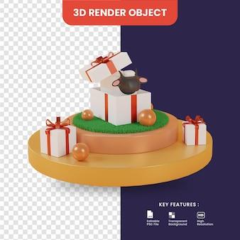 3d render feliz eid al adha com ovelhas dentro de uma caixa de presente no pódio
