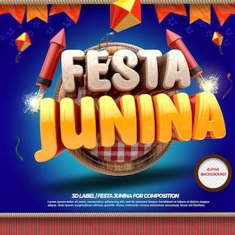 3d render festa junina esquerda com bandeiras e fogos de artifício e balões