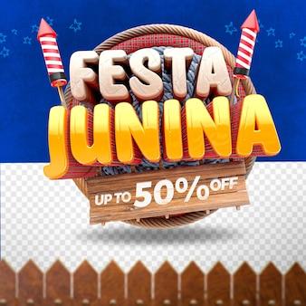 3d render festa junina frontal com pano e fogos de artifício