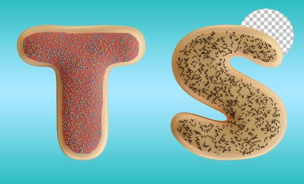 3d render formato de alfabeto de rosquinhas vitrificadas com letra t e s
