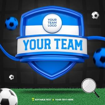 3d render frente de esportes azuis e escudo de torneio e campo de futebol