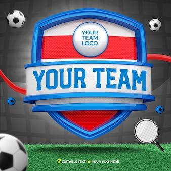 3d render frente de esportes azul vermelho e branco e escudo de torneio