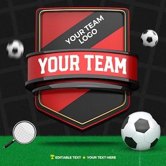 3d render frente de esportes e torneio vermelho preto e dourado com listras e campo de futebol