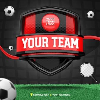 3d render frente de esportes em preto e vermelho e escudo de torneio