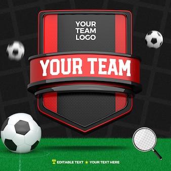 3d render frente de esportes red black com listras e campo de futebol