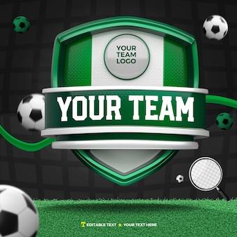3d render frente de esportes verdes e brancos e escudo de torneio