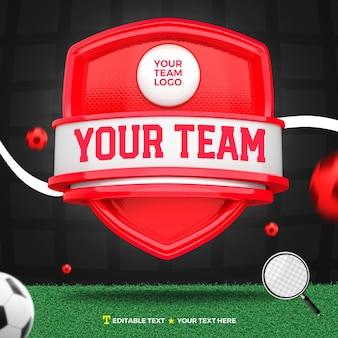 3d render frente de esportes vermelhos e escudo de torneio e campo de futebol