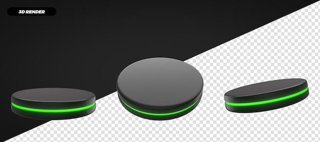 3d render green podium stage isolado para composição