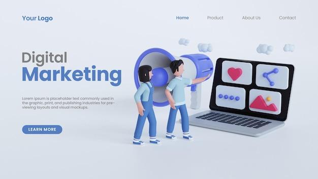3d render homem e mulher apontando para laptop 3d online modelo de página de destino de conceito de marketing digital