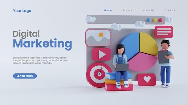 3d render homem mulher gráfico de pizza conceito de tela página inicial de marketing digital on-line modelo psd