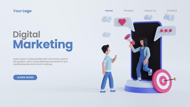 3d render homem, mulher, segurando, megafone, online, marketing digital, conceito, landing page template, psd