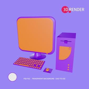 3d render icon computador pessoal
