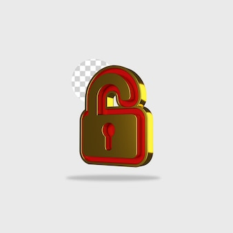 3d render icon lock design