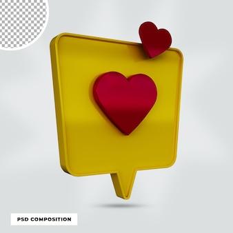 3d render ícone de amor isolado