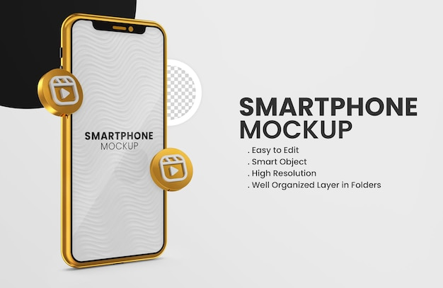 3d render ícone de carretéis de instagram na maquete de ouro do smartphone