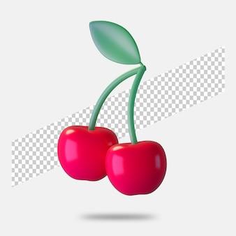 3d render ícone de cereja isolado
