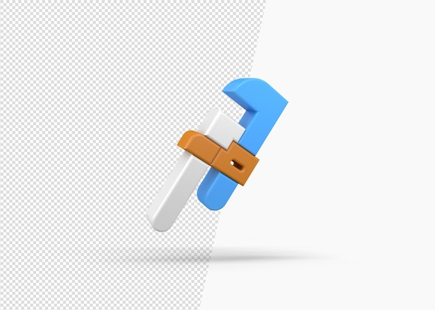 3d render ícone de chave de encanador isolado