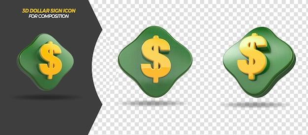 3d render ícone de dólar para composição geral