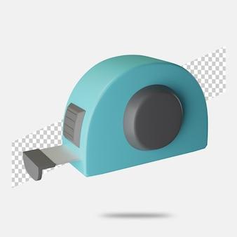 3d render ícone de fita métrica isolado