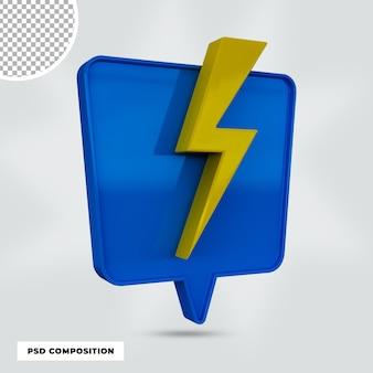 3d render ícone de flash isolado