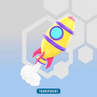 3d render ícone de foguete espacial com fumaça
