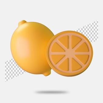 3d render ícone de limão isolado