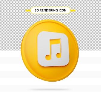 3d render ícone de música isolado