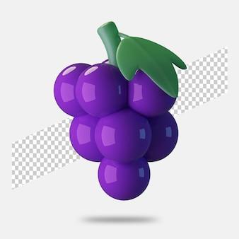 3d render ícone de uva isolado