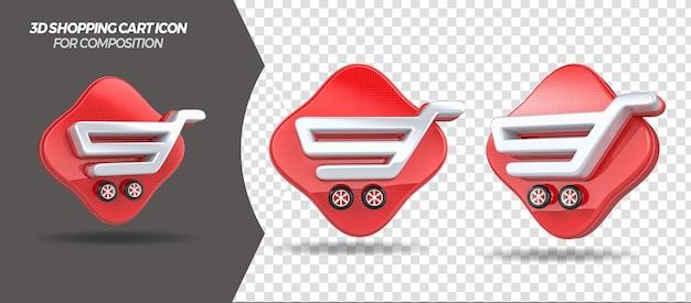 3d render ícone do carrinho de compras para composição geral