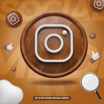 3d render ícone do instagram na frente do círculo de madeira