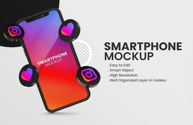 3d render ícone do instagram na maquete de smartphone preto