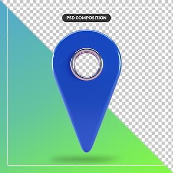 3d render ícone do ponteiro do mapa azul isolado
