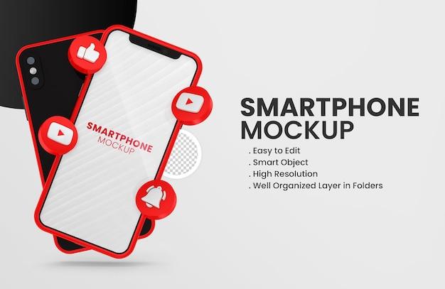 3d render ícone do youtube em maquete de smartphone vermelho