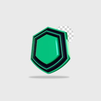 3d render ícone escudo design