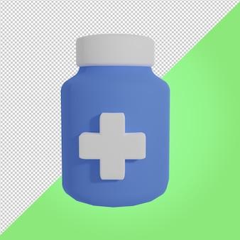 3d render ícone médico de frasco de remédio azul