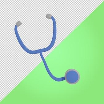 3d render ícone médico do estetoscópio azul