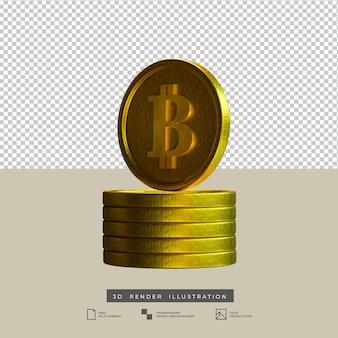 3d render ilustração de bitcoins de ouro isolada