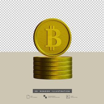 3d render ilustração de bitcoins dourados